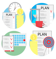 planning and management of business set icons vector image