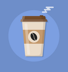plastic coffee cup with hot coffee vector image