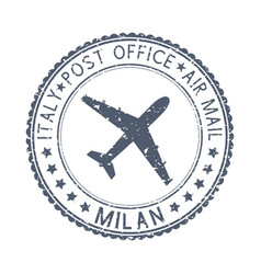 Postmark milan italy black postal element with vector