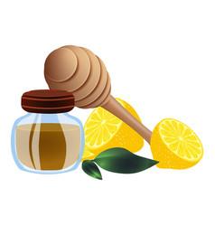 Propolis wood spoon lemon icon cartoon style vector