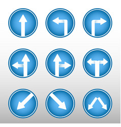 Road sign arrows icons vector