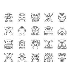 robot charcoal draw line icons set vector image