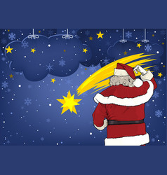 santa claus and christmas star vector image