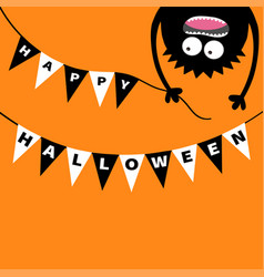Screaming monster head silhouette bunting flags vector