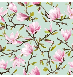 Seamless Floral Pattern Magnolia Flowers vector