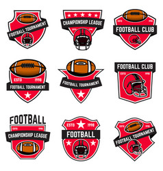 Set of american football emblems design element vector