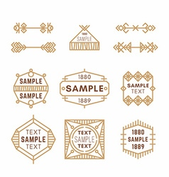 Set of Line Art Decorative Geometric Frames and vector