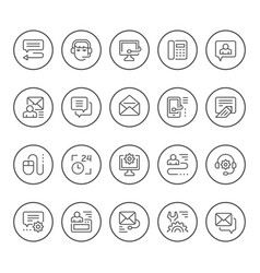 Set round line icons support vector