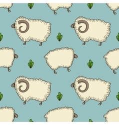 simple seamless pattern with sheep and ram vector image