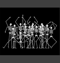 Skeletons in hell sinners skeleton crowd vector