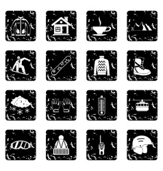 Snowboarding set icons grunge style vector