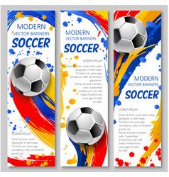 soccer ball banner of football sport game template vector image