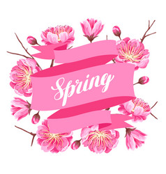 Spring background with sakura or cherry blossom vector
