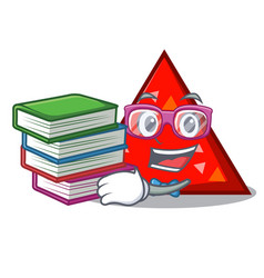 Student with book triangel mascot cartoon style vector