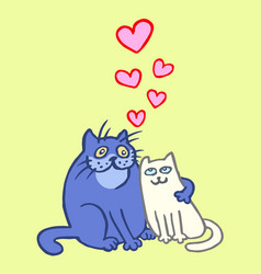 Sweet enamored cats in yellow and blue colors vector