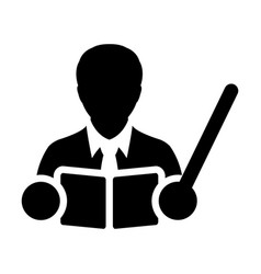 Teacher icon male person with book and pointer vector