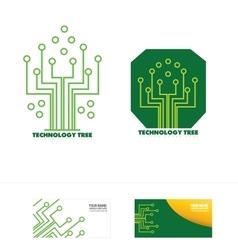 Technology circuit tree concept logo icon vector