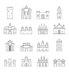 Towers and castles icons set outline style vector