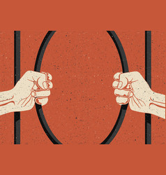 two arms are breaking prisons bars freedom vector image