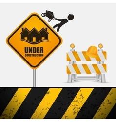 under construction sign barrier road helmet vector image