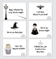 valentine s day cards in harry potter style vector image