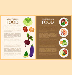 vegetarian food vegetables and healthy dishes vector image