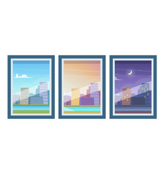 view from windows day time morning evening night vector image