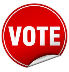 vote round red sticker isolated on white vector image
