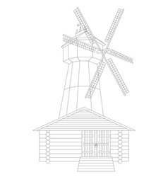 Windmill and granary vector
