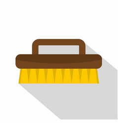 Wooden scrub brush icon flat style vector