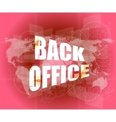 word back office on digital touch screen vector image