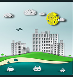 abstract paper cut landscape with block of flats vector image vector image