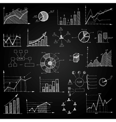Chalk board doodle web charts vector image