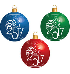 Christmas ball with cock symbol of New 2017 vector image