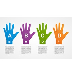Flat infographics with colorful hands vector image vector image