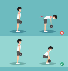 male wrong and right deadlift posture vector image