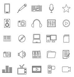 Media line icons on white background vector image