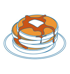 Plate with pancakes icon vector