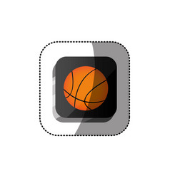 sticker color square 3d button with basketball vector image vector image