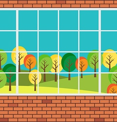 Window with forest landscape view flat design vector image
