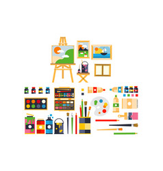 artist painting tools and artistic materials for vector image