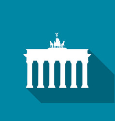 brandenburg gate with long shadow flat icon vector image vector image