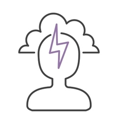 Headache icon pain symbol stress sick man brain vector image