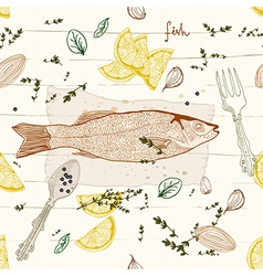 Seamless Background with fish dish vector image