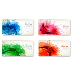 set of watercolor abstract banners vector image vector image
