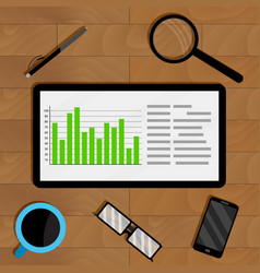 statistics in electronic form on tablet vector image