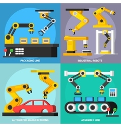 Automation Conveyor Orthogonal 2x2 Icons Set vector image vector image