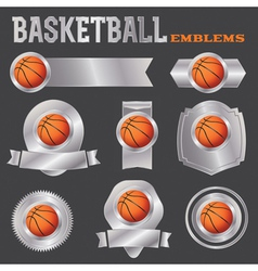 Basketball metal banners and badges vector