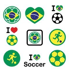 Brazilian flag football or soccer ball icons set vector image vector image