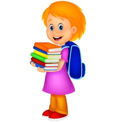 Cartoon girl bring pile of books vector image vector image